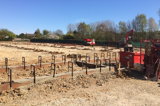 Foundation work under way for Walberton's new glasshouse, 2015