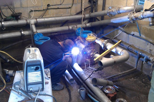 Welding work in the pumphouse, 2011