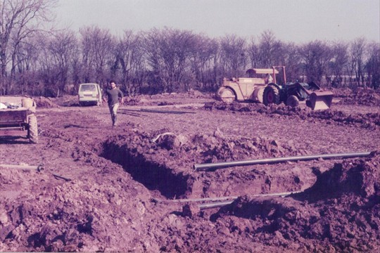 Irrigation being installed on land bought from Langmeads, 1984