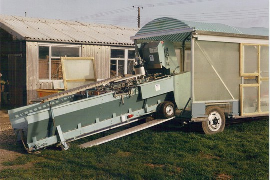 Mobile potting trailer being built,  late 1980s