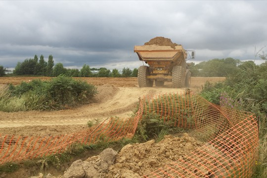 Reservoir construction at Binsted, 2015