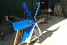 Glasshouse fan being fixed and tested in the workshop