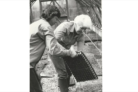 Rosemary Tristram with Binsted-born business partner Janet Whiting in the early days of Binsted Nursery propagation